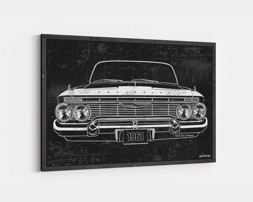 1961 Chevrolet Chevy Impala 283 CarGrilleArt™ | Sign Car Auto Man Cave Art Grill Garage Men Gifts Wall Decor Canvas Print