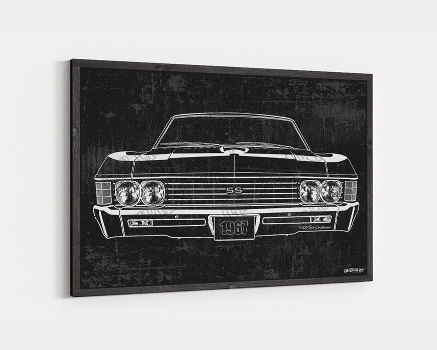 1967 Chevrolet Chevy Impala SS Super Sport 427 CarGrilleArt™ | Sign Car Auto Man Cave Art Grill Garage Men Gifts Wall Decor Canvas Print - Milweb1