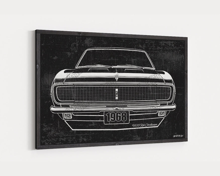 1968 Chevrolet Chevy Camaro RS CarGrilleArt TM | Sign Car Auto Man Cave Art Grill Garage Men Gifts Wall Decor Canvas Print