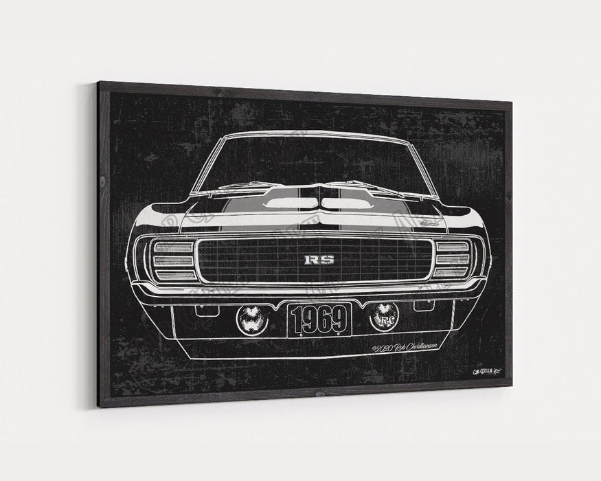 1969 Chevrolet Chevy Camaro RS Hideaway CarGrilleArt TM | Sign Car Auto Man Cave Art Grill Garage Men Gifts Wall Decor Canvas Print