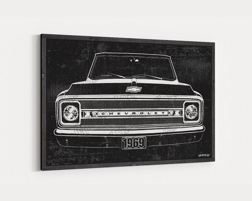 1969 C10 Chevrolet Chevy Truck CarGrilleArt TM | Sign Car Auto Man Cave Art Grill Garage Men Gifts Wall Decor Canvas Print