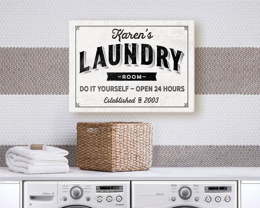Laundry Room Sign / Laundry Room Decor Personalized Vintage Modern Farmhouse Housewarming Vintage Rustic Custom | Wall Decor Canvas Print