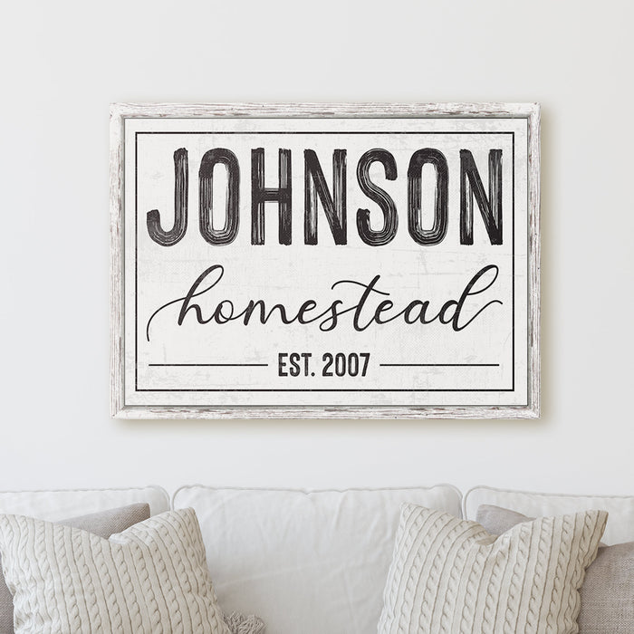 Personalized Homestead Family Name Sign Modern Farmhouse Established Vintage Rustic Custom Lastname | Wall Decor Canvas Print