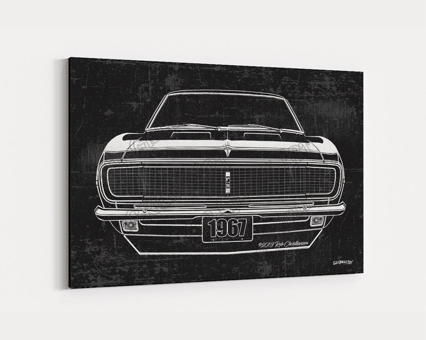 1967 Chevrolet Chevy Camaro RS CarGrilleArt TM | Sign Car Auto Man Cave Art Grill Garage Men Gifts Wall Decor Canvas Print