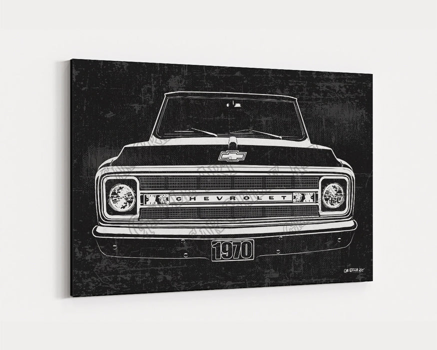 1970 C10 Chevrolet Chevy Truck CarGrilleArt TM | Sign Car Auto Man Cave Art Grill Garage Men Gifts Wall Decor Canvas Print