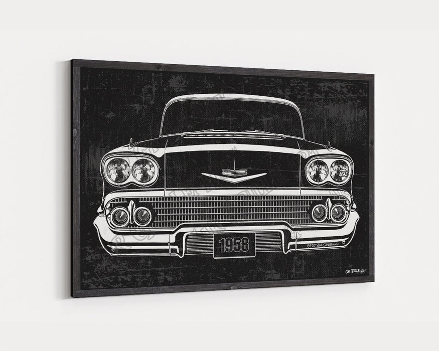 1959 Chevrolet Chevy Impala CarGrilleArt™ | Sign Car Auto Man Cave Art Grill Garage Men Gifts Wall Decor Canvas Print