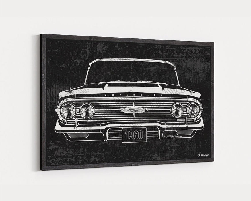 1960 Chevrolet Chevy Impala 283 CarGrilleArt™ | Sign Car Auto Man Cave Art Grill Garage Men Gifts Wall Decor Canvas Print