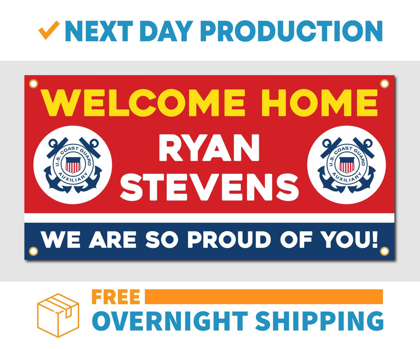 Welcome Home U.S. Coast Guard / United States Customizable - Vinyl Banner - Sign - Free Overnight Shipping - Milweb1