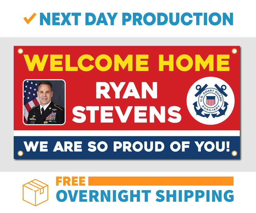 Welcome Home U.S. Coast Guard / United States Customizable with Photo - Vinyl Banner - Sign - Free Overnight Shipping - Milweb1