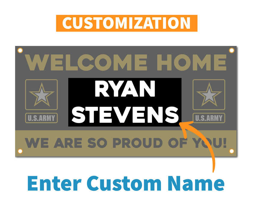 Welcome Home U.S. Army / United States Military Customizable - Vinyl Banner - Sign - Free Overnight Shipping - Milweb1