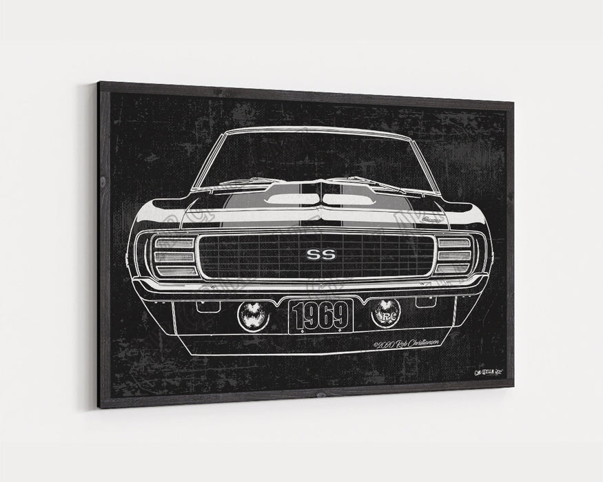 1969 Chevrolet Chevy Camaro RS/SS Hideaway CarGrilleArt TM | Sign Car Auto Man Cave Art Grill Garage Men Gifts Wall Decor Canvas Print