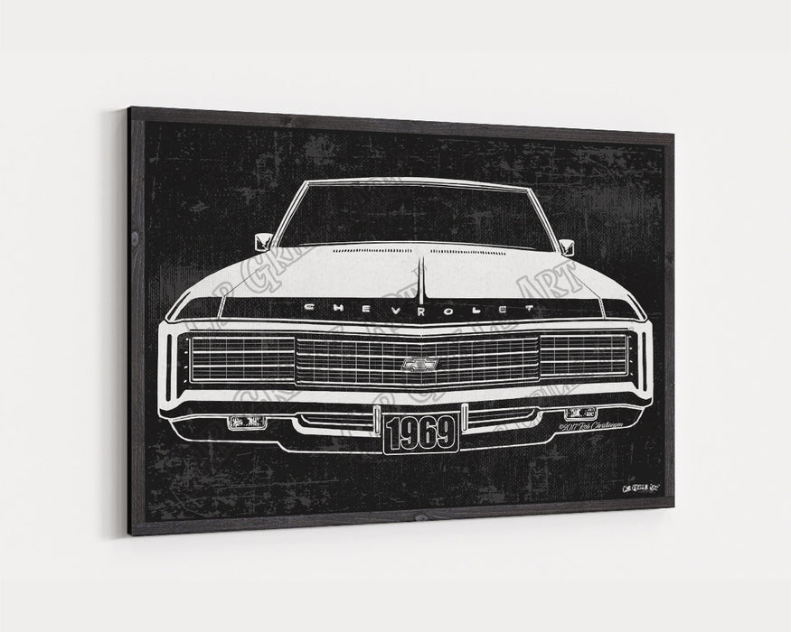 1969 Chevrolet Chevy Impala Hideaways CarGrilleArt™ | Sign Car Auto Man Cave Art Grill Garage Men Gifts Wall Decor Canvas Print