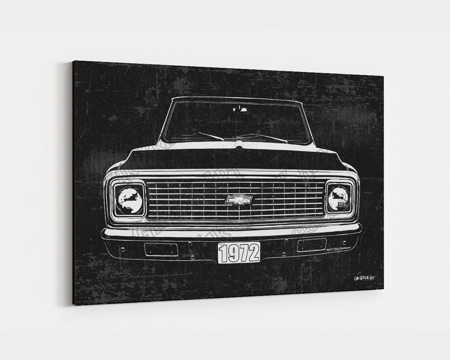 1972 C10 Chevrolet Chevy Truck CarGrilleArt TM | Sign Car Auto Man Cave Art Grill Garage Men Gifts Wall Decor Canvas Print