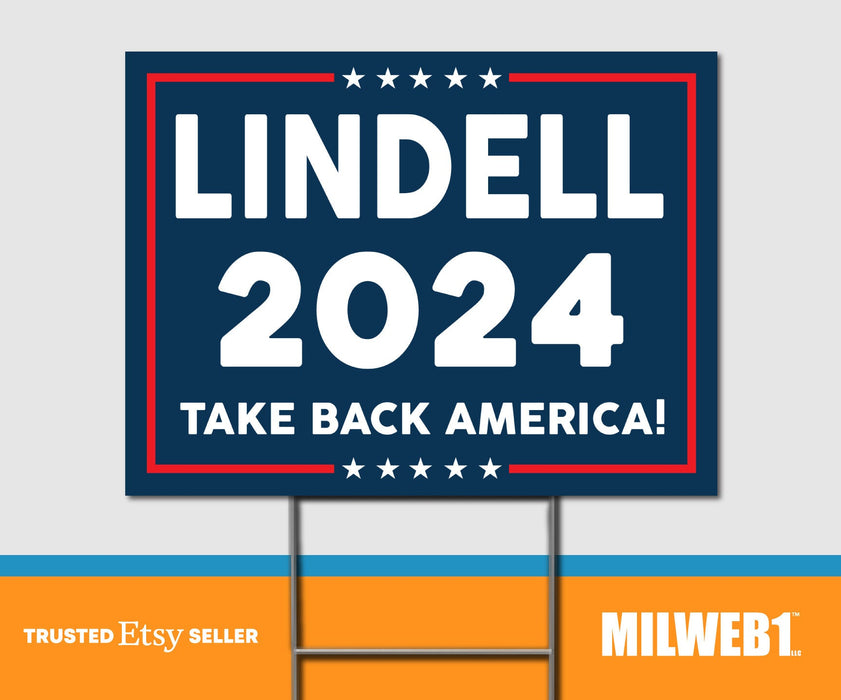 Mike Lindell 2024 - Take Back America - My Pillow Guy - Double Sided Yard Sign with Stakes Sign - Milweb1
