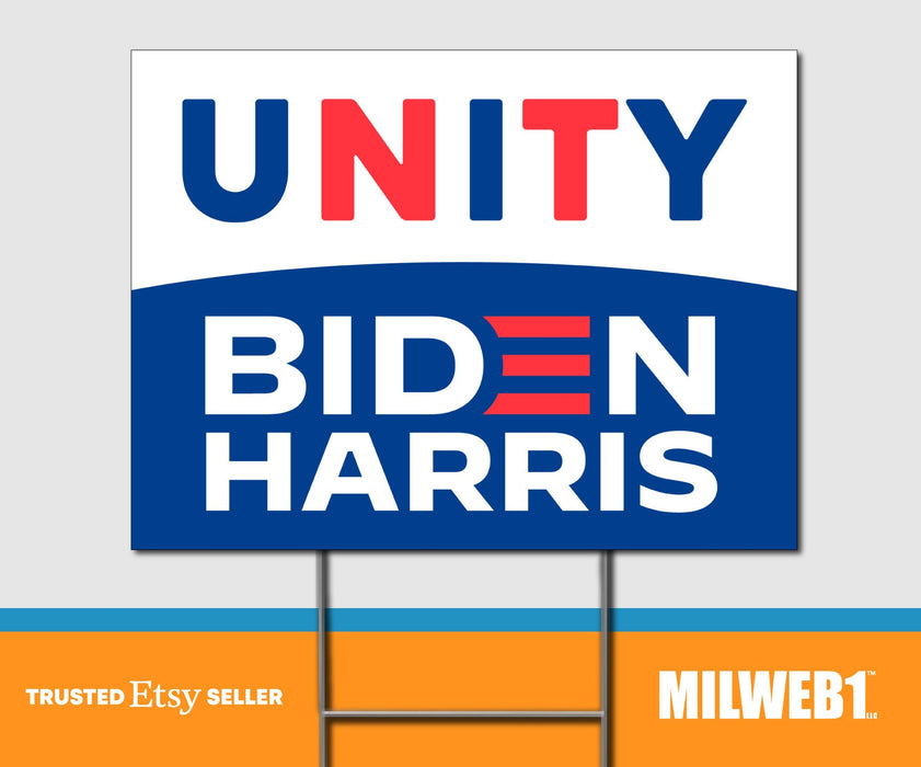 Unity - Biden Harris President 2020 - Double Sided Yard Sign with Stakes Sign - Milweb1