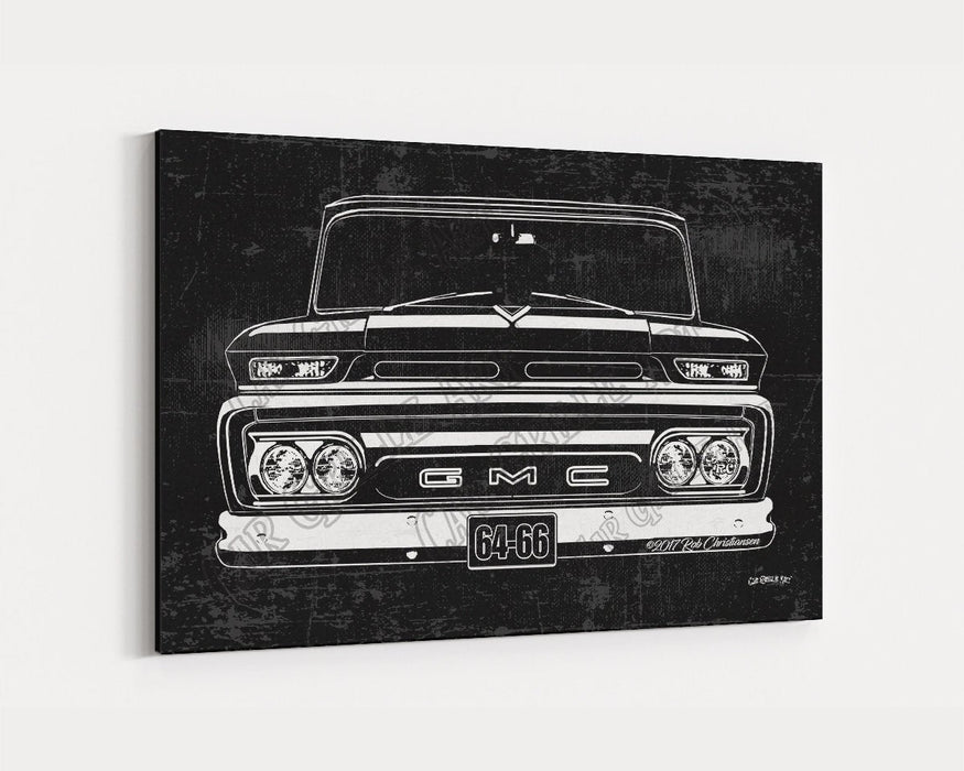 1964, 1965, 1966  GMC Truck CarGrilleArt TM | Sign Car Auto Man Cave Art Grill Garage Men Gifts Wall Decor Canvas Print