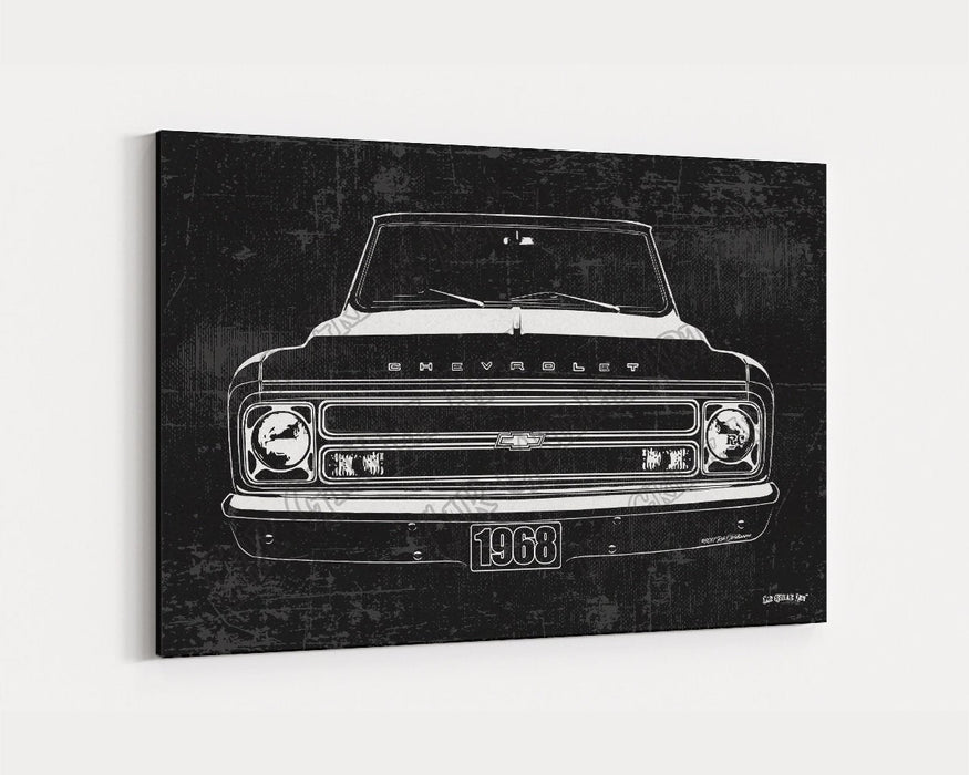 1968 C10 Chevrolet Chevy Truck CarGrilleArt TM | Sign Car Auto Man Cave Art Grill Garage Men Gifts Wall Decor Canvas Print