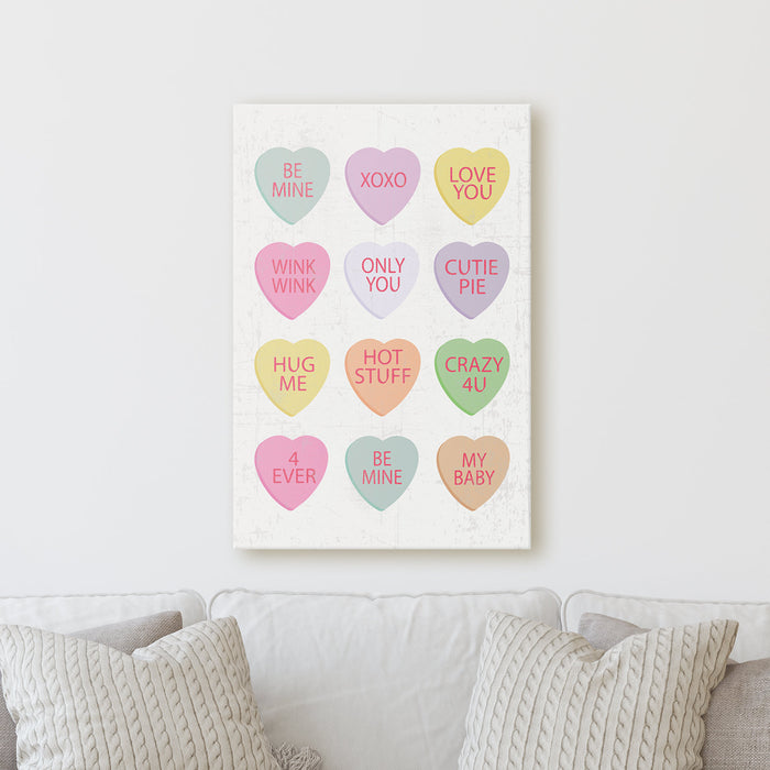 Valentine's Candy Hearts | Sign Rustic Home Farmhouse Wall Decor Canvas Print