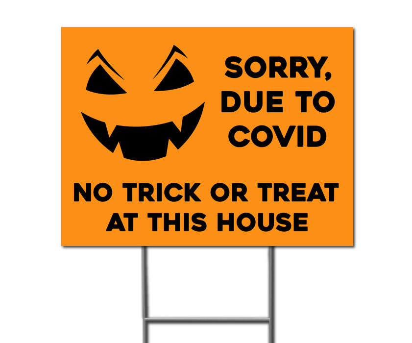 No Trick or Treaters Double-Sided Yard Sign with Stake - Milweb1