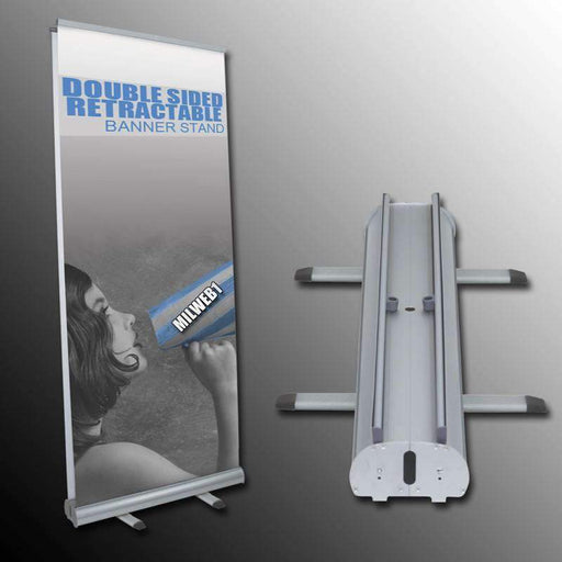 "33""x78"" Double Sided Retractable Banner Stand - Milweb1"
