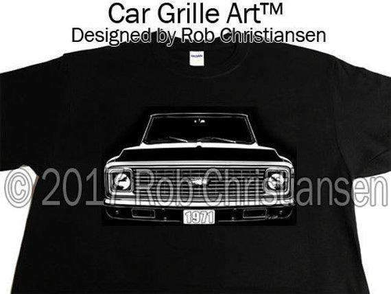 Car Grille Art™ 1971 Chevy Truck C10, Pickup, Chevy Truck. K10, C/K T-Shirt, Suburban. - Milweb1