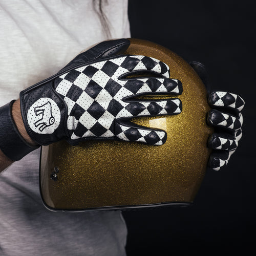 Holy Freedom Bullit black and white check motorcycle gloves