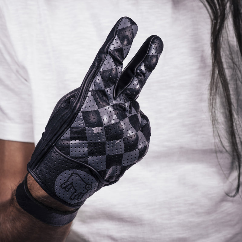 Holy Freedom Bullit black and anthracite check motorcycle gloves