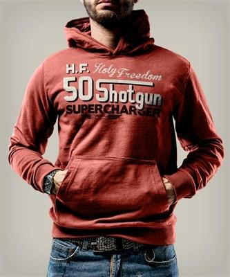 Holy Freedom Shotgun Red Custom Motorcycle Wind Stopper Hoodie Sweatshirt