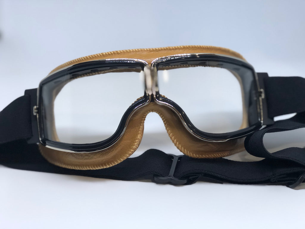 Blackbird Tan Goggles with Clear Lenses for Motorcycle