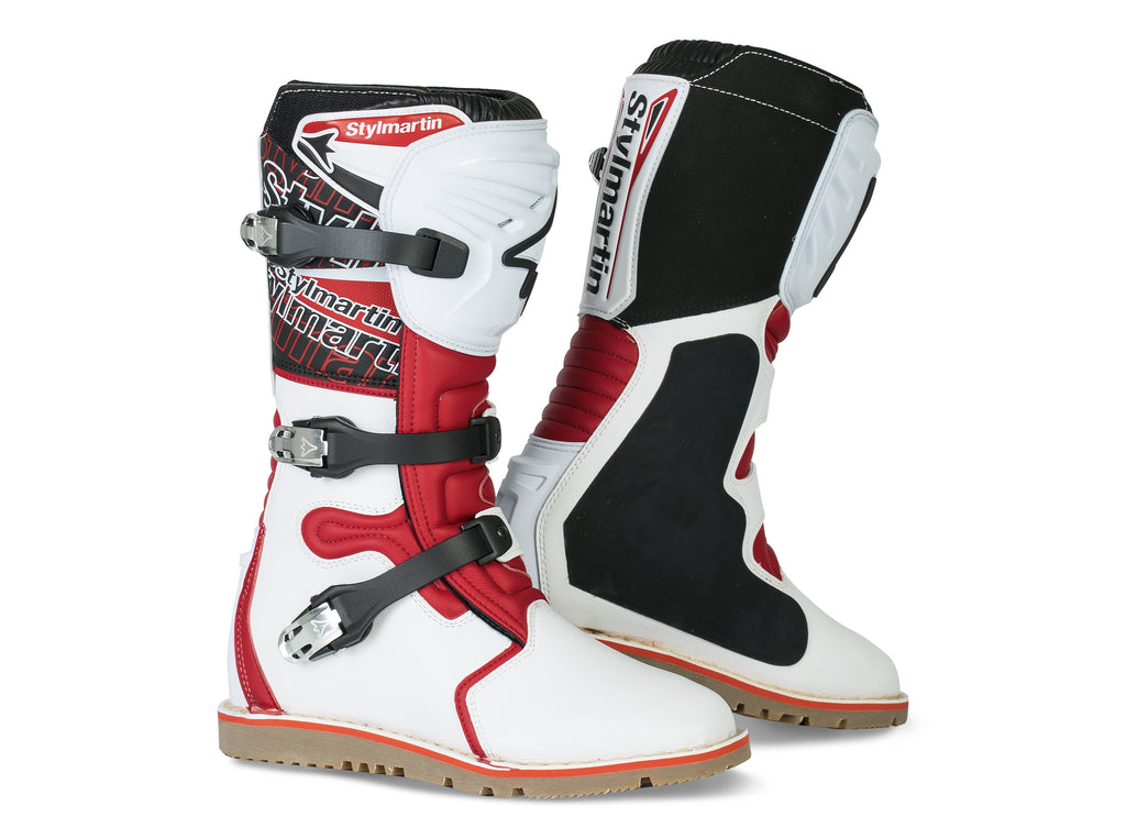 Stylmartin Impact Evo Off Road Motorcycle Boot in White and Red