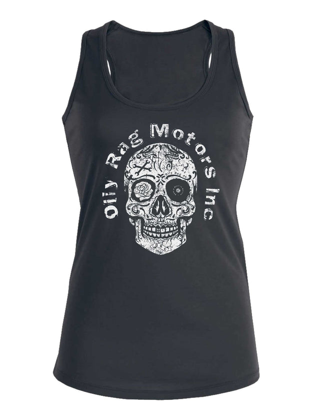 Oily Rag Motors Inc. Sugar Skull retro motorcycle ladies vest