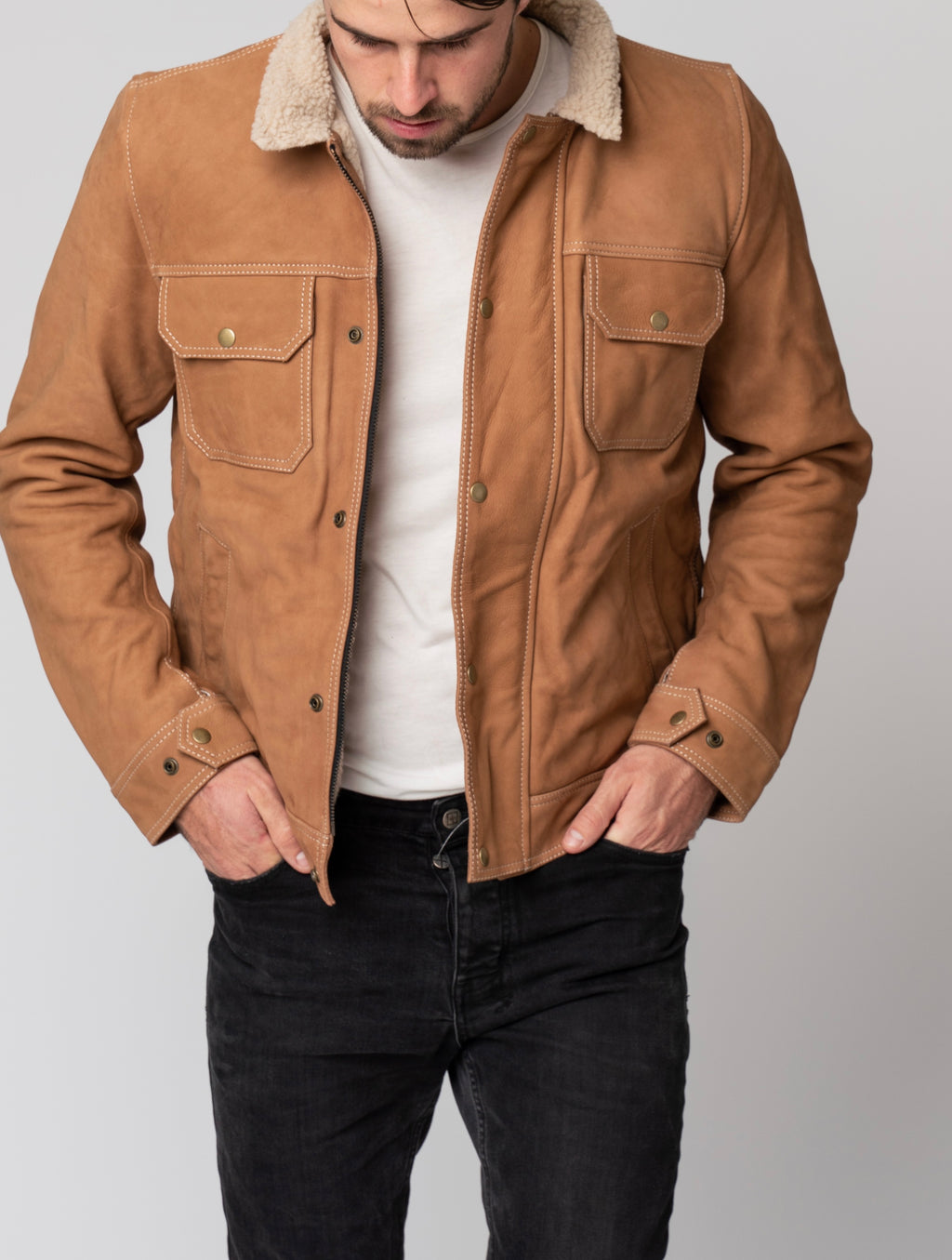 Blackbird Mens Nubuck Leather Motorcycle Jacket