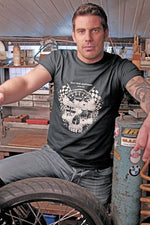 Oily Rag Clothing Ton Up Skull retro motorcycle T'shirt