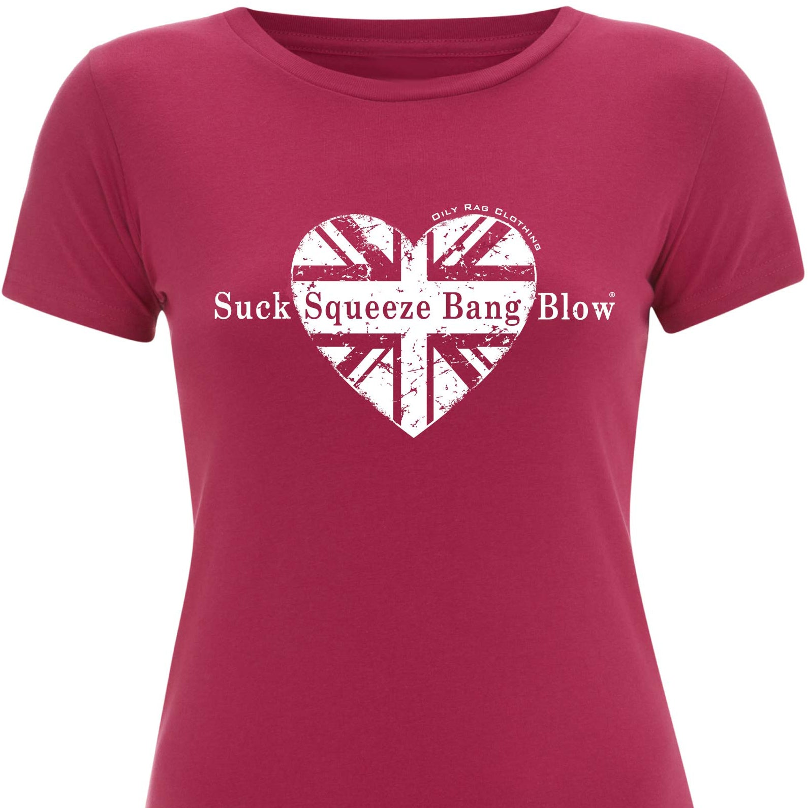 Oily Rag Pink Heart Suck Squeeze Bang Blow retro motorcycle ladies t'shirt