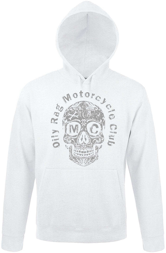 Oily Rag Clothing white Motors Inc skull design hoodie