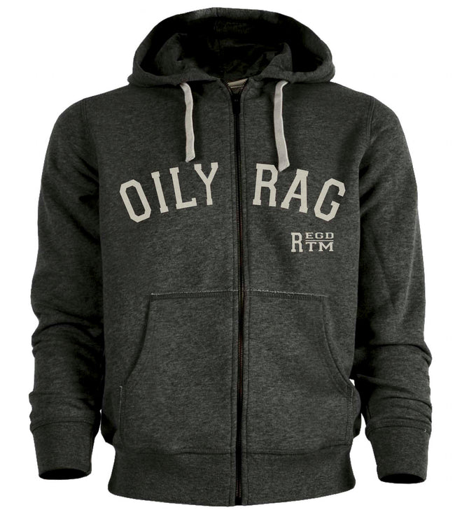 Oily Rag Clothing mens grey Trademark zipped hoodie