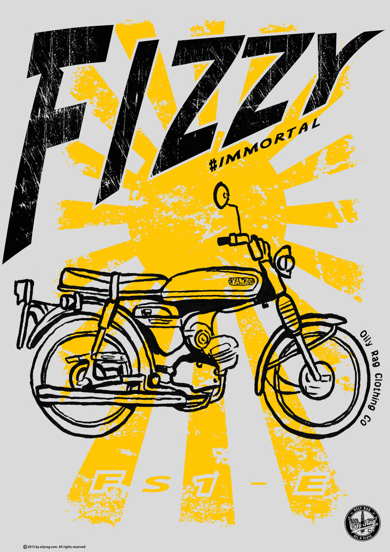 Oily Rag Clothing Fizzy Yamaha FS1-E retro motorcycle Alloy Sign