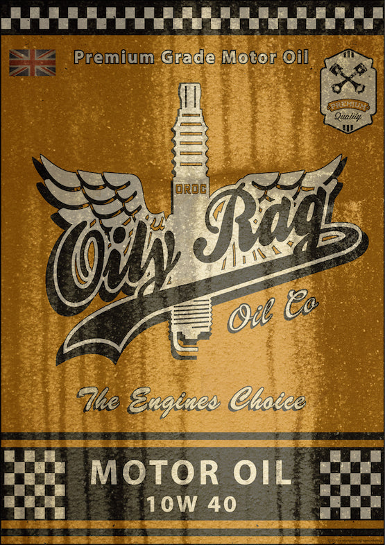 Oily Rag Clothing Oil Can retro motorcycle Alloy Sign