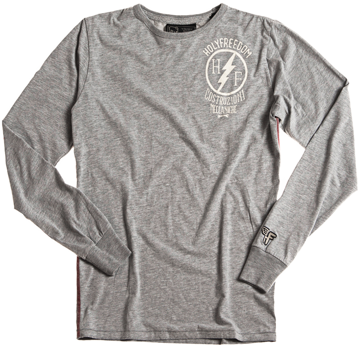 Holy Freedom Officina Grey long sleeve custom motorcycle t'shirt