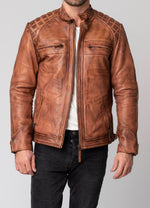 Backbird Men's Pembrey Leather Motorcycle Jacket
