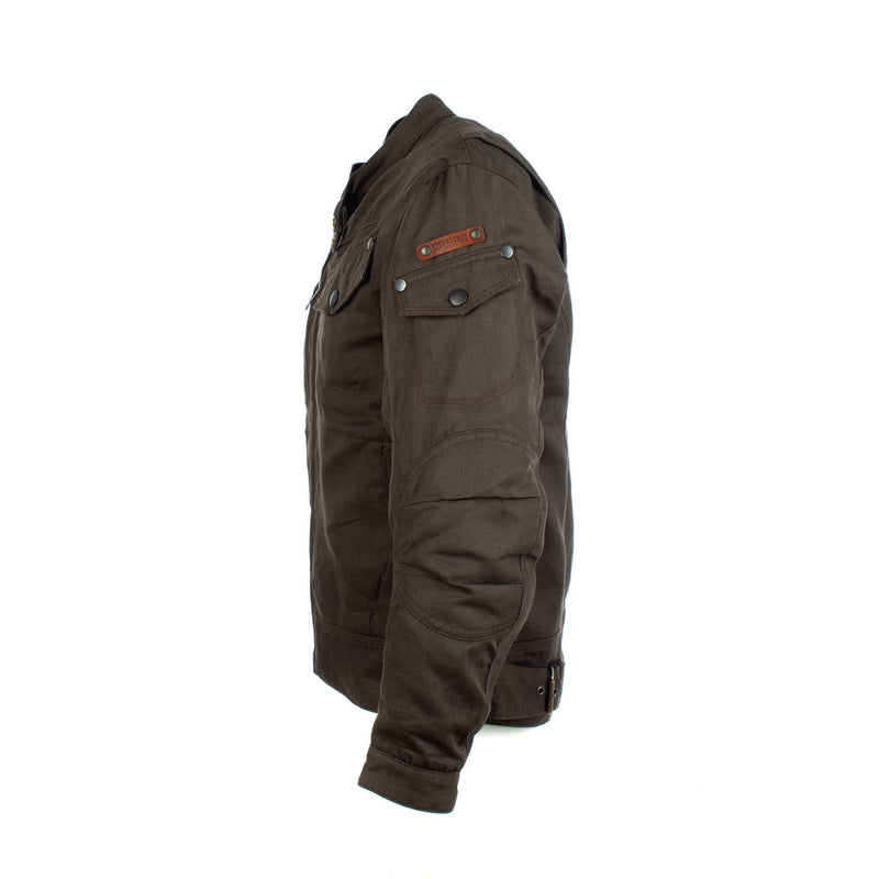 Resurgence Gear Rocker Olive Green PEKEV lined denim style protective motorcycle jacket