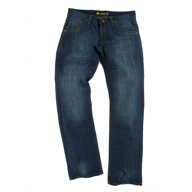 Resurgence Gear Mens Heritage in Old School PEKEV motorbike jeans, safer alternative to Kevlar jeans