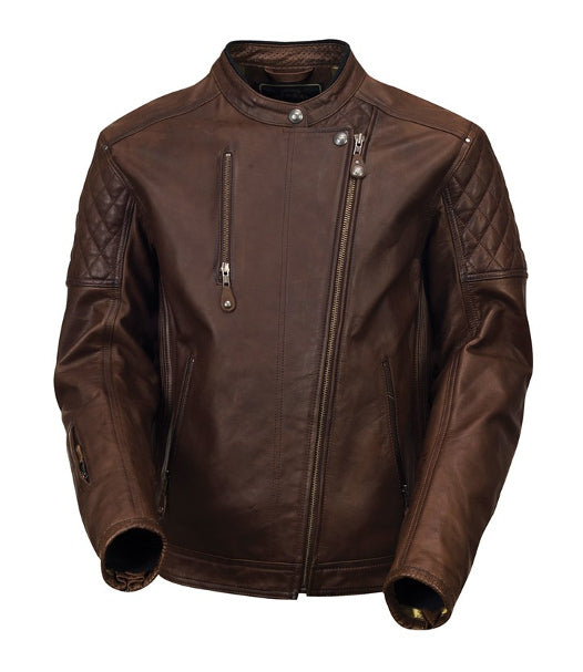 Roland Sands Design Clash Leather Motorcycle Jacket in Tobacco
