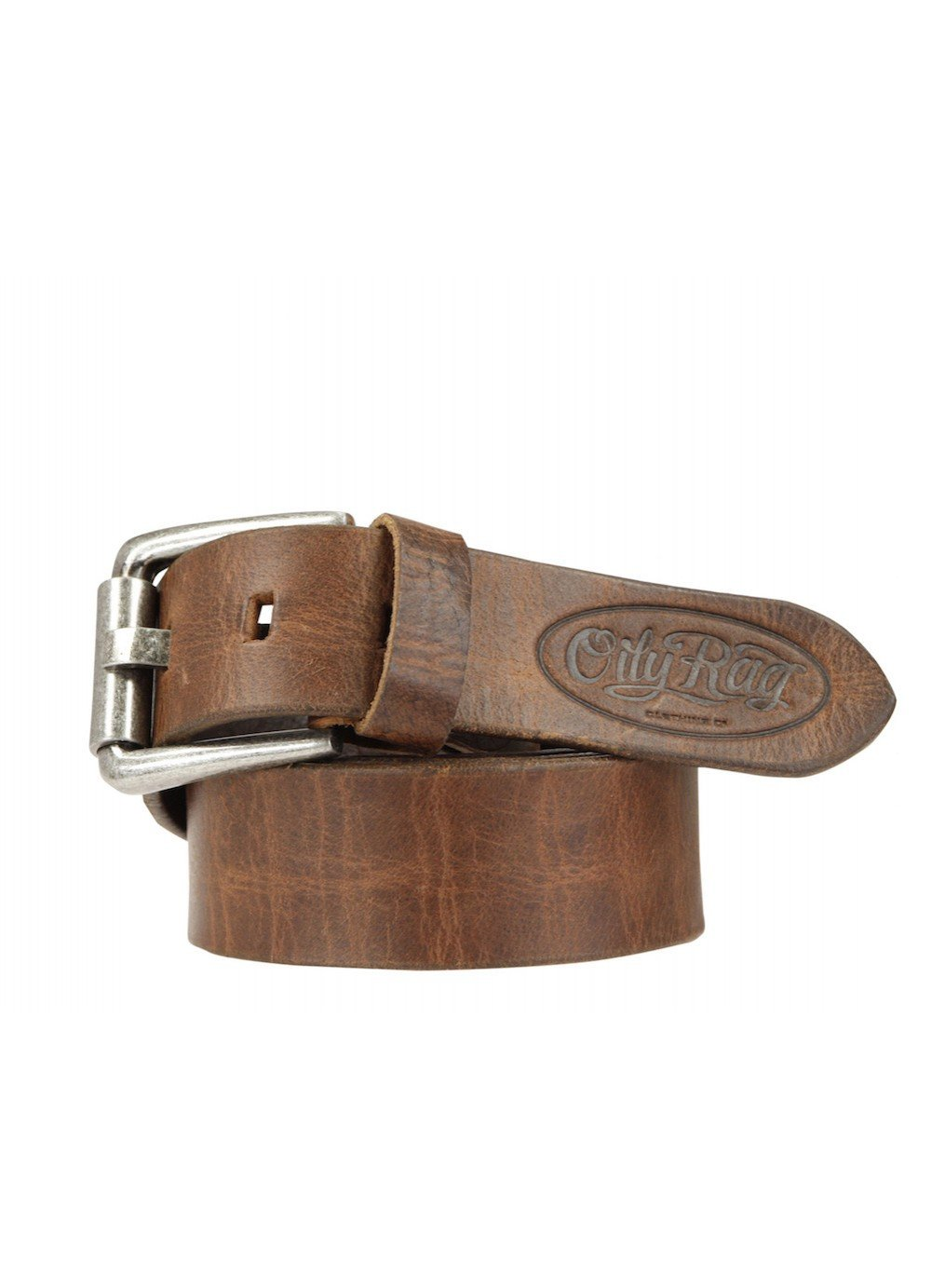 Oily Rag Clothing tan leather belt in Rust