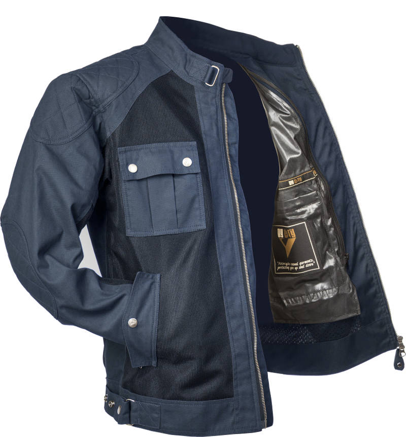 By City Men's Teneree Venty II Mesh Waxed Cotton Motorcycle Jacket