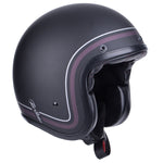 By City Two Strokes Matte Black Fibre Resin Open Face Jet Retro Motorcycle Helmet