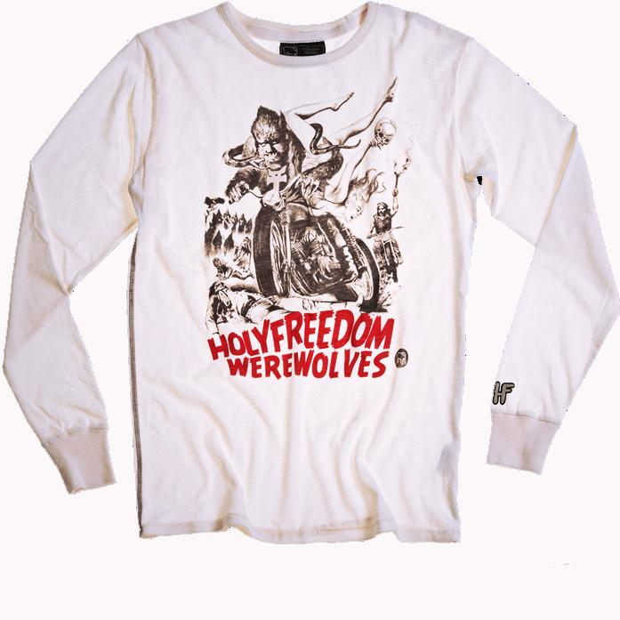 Holy Freedom Werewolves White long sleeve custom motorcycle t'shirt