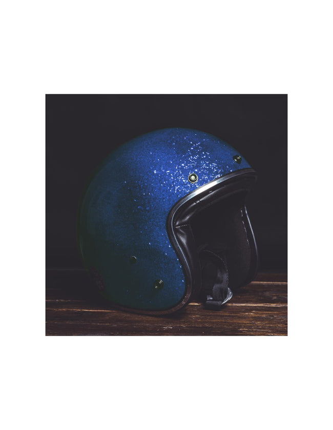 Holy Freedom Blue Glitter Open Face Jet Helmet ECE Certified