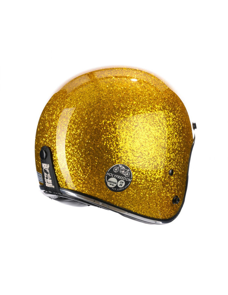 Holy Freedom Golden Glitter Open Face Jet Helmet ECE Certified
