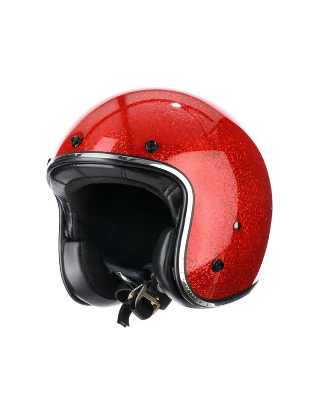 Holy Freedom Red Glitter Open Face Jet Helmet ECE Certified